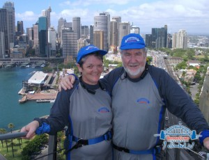 Jan & David Laugher on Sydney Harbour Bridge Nov 08. Don't you just love those flattering outfits!  'Thanks Brianna & Rodney for the great Xams present - now try to top it'