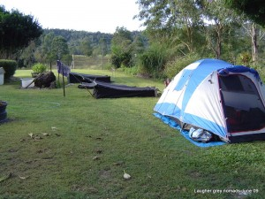 Mike & Karen's tent, my swag, then Marc's & Terry's in Grizz's front yard, just out of Cannonvale.
