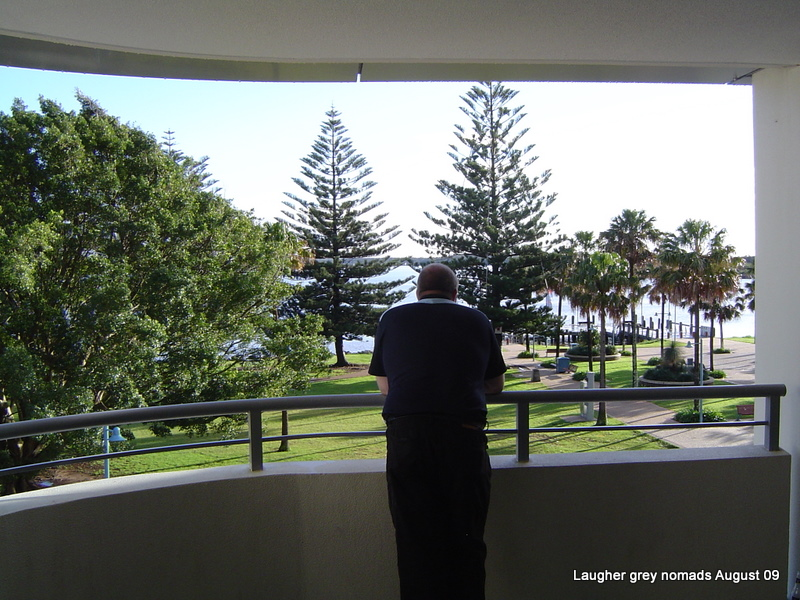The view of the foreshore from the balcony of our unit at Port Macquarie. Oh, that's Marc blocking the view.