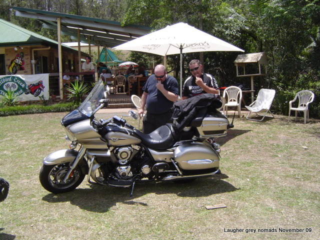 "Marc & Terry ""admiring"" my new bike at the Bikers Cafe near Imbil"