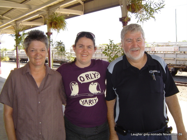 Jan, Brianna and I waiting for The Spirit of the Outback train for Brianna's trip back to Rockhampton for her flight south.