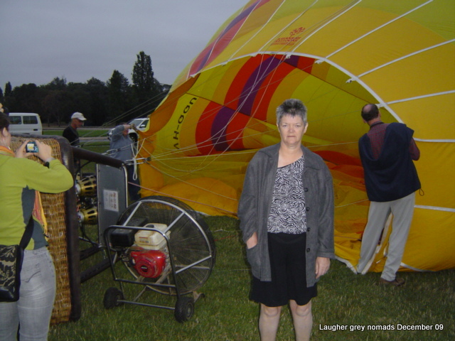 Inflating balloon with fans, Jan not quite awake at this point