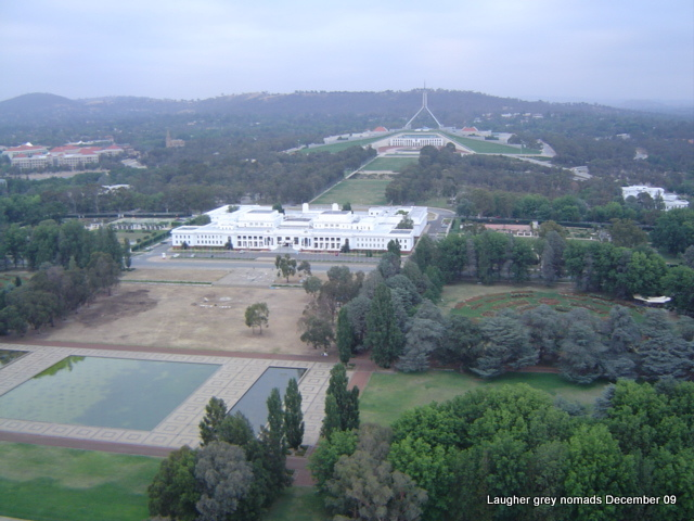 Looking back over old Parliament House to the new one